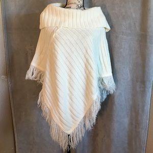 Bette Sung Cream Crocheted Cowl Neck Shawl OS